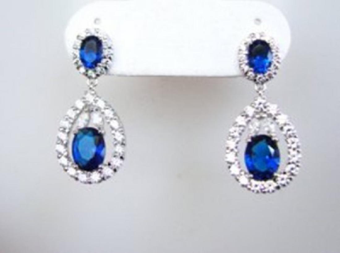 Creation Diamond/Sapphire Earrings 11.76Ct 18k W/g Over - 2