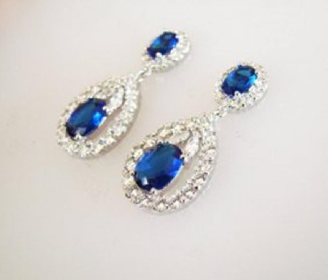 Creation Diamond/Sapphire Earrings 11.76Ct 18k W/g Over - 3