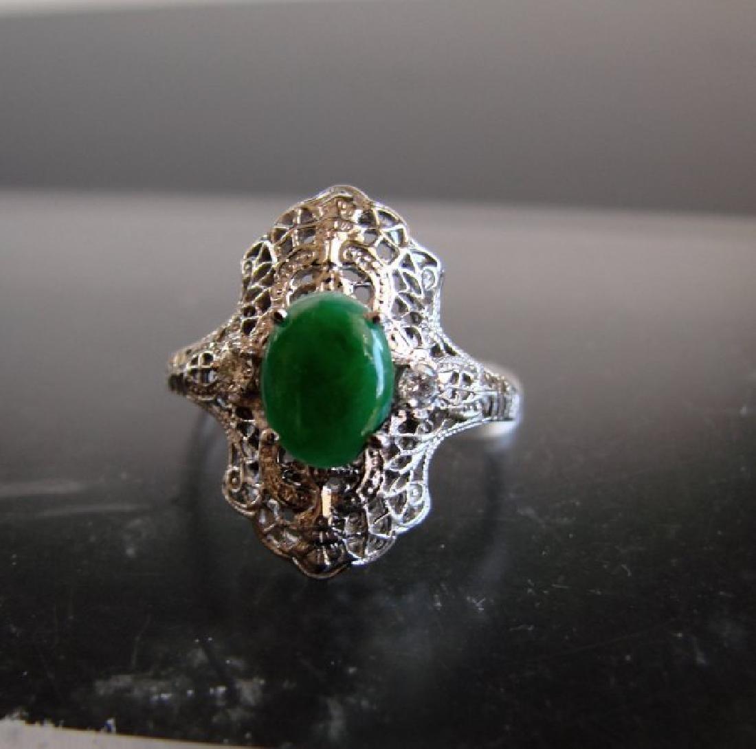 Anniversary Ring Imperial Jade/Diamond 1.04Ct 14k W/g