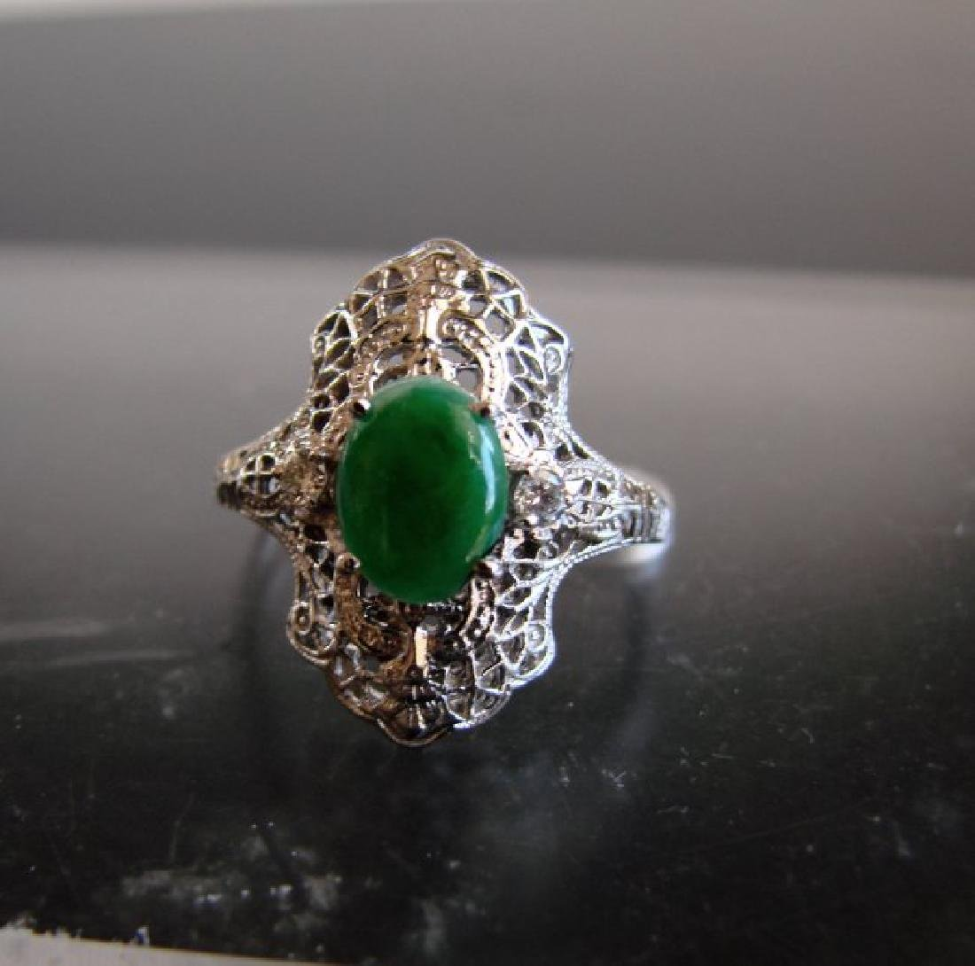 Anniversary Ring Imperial Jade/Diamond 1.04Ct 14k W/g