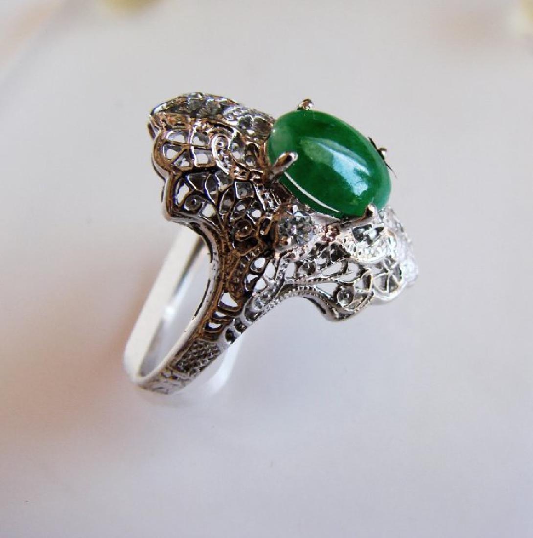 Anniversary Ring Imperial Jade/Diamond 1.04Ct 14k W/g - 2