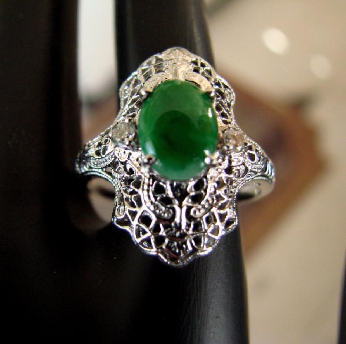Anniversary Ring Imperial Jade/Diamond 1.04Ct 14k W/g - 3