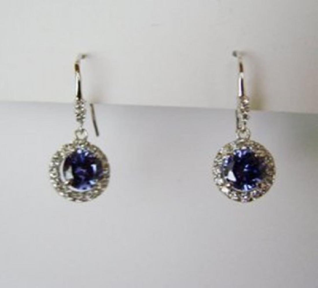 Creation Diamond/Tanzanite Earring 3.78Ct 18k W/g Over