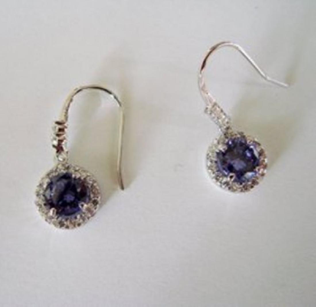 Creation Diamond/Tanzanite Earring 3.78Ct 18k W/g Over - 2