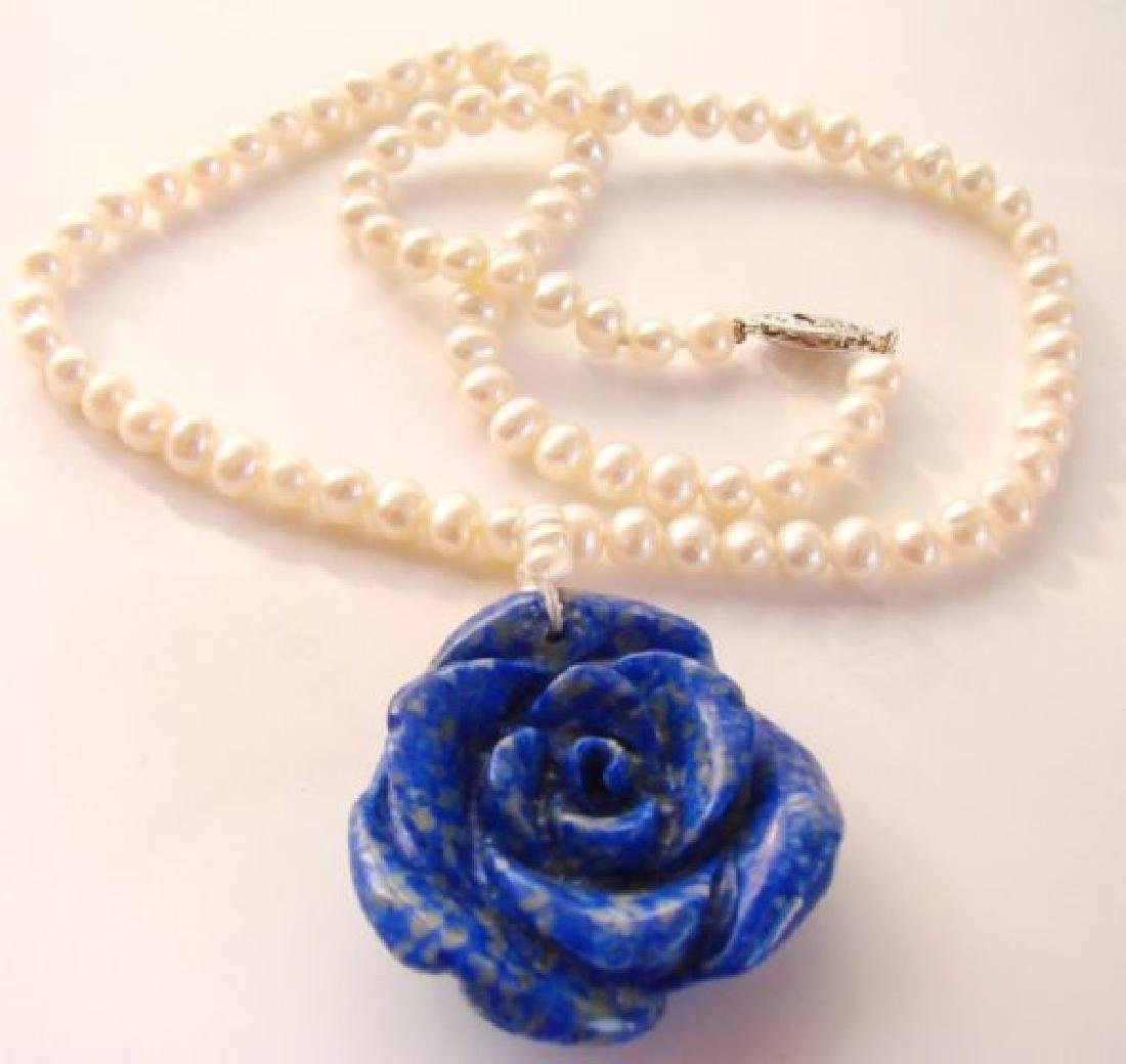 Elegant Pearl Necklace Flower Lapis Pendant - 2