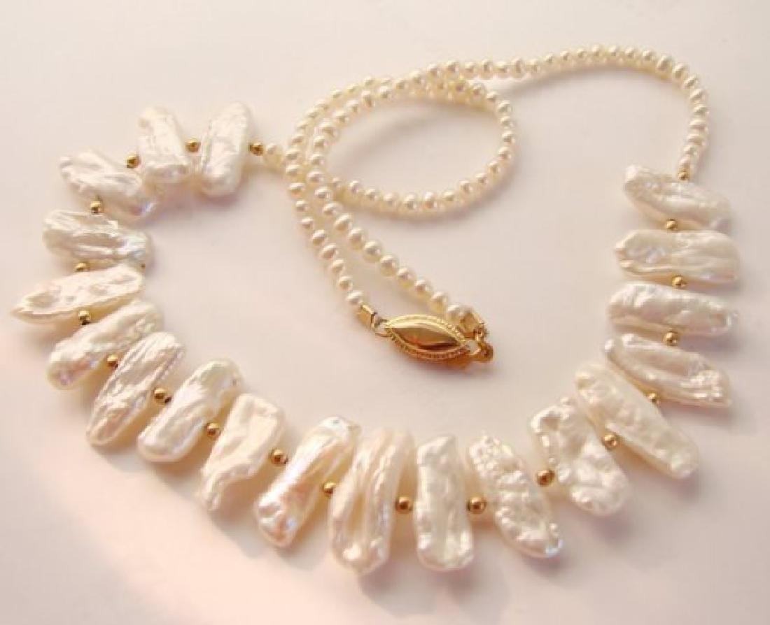 Biwa pearl and white freshwater pearl necklace - 2