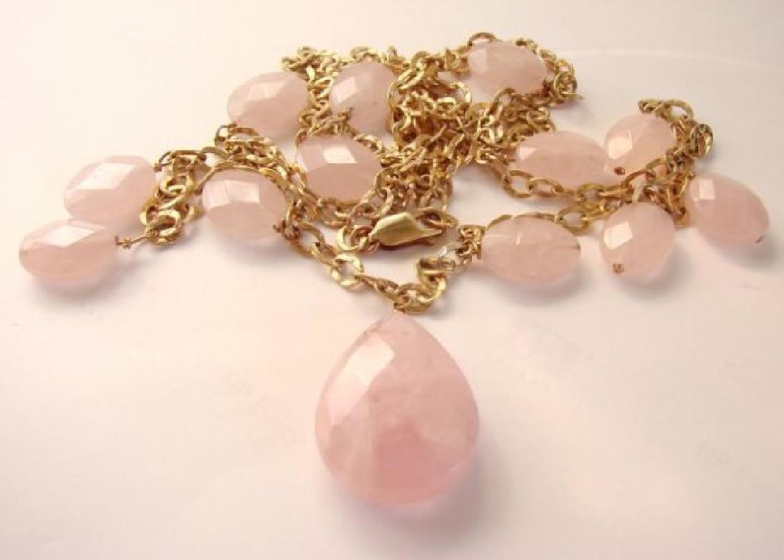 Elegant Rose Quartz Necklace 95.10Ct 14K G/Filled