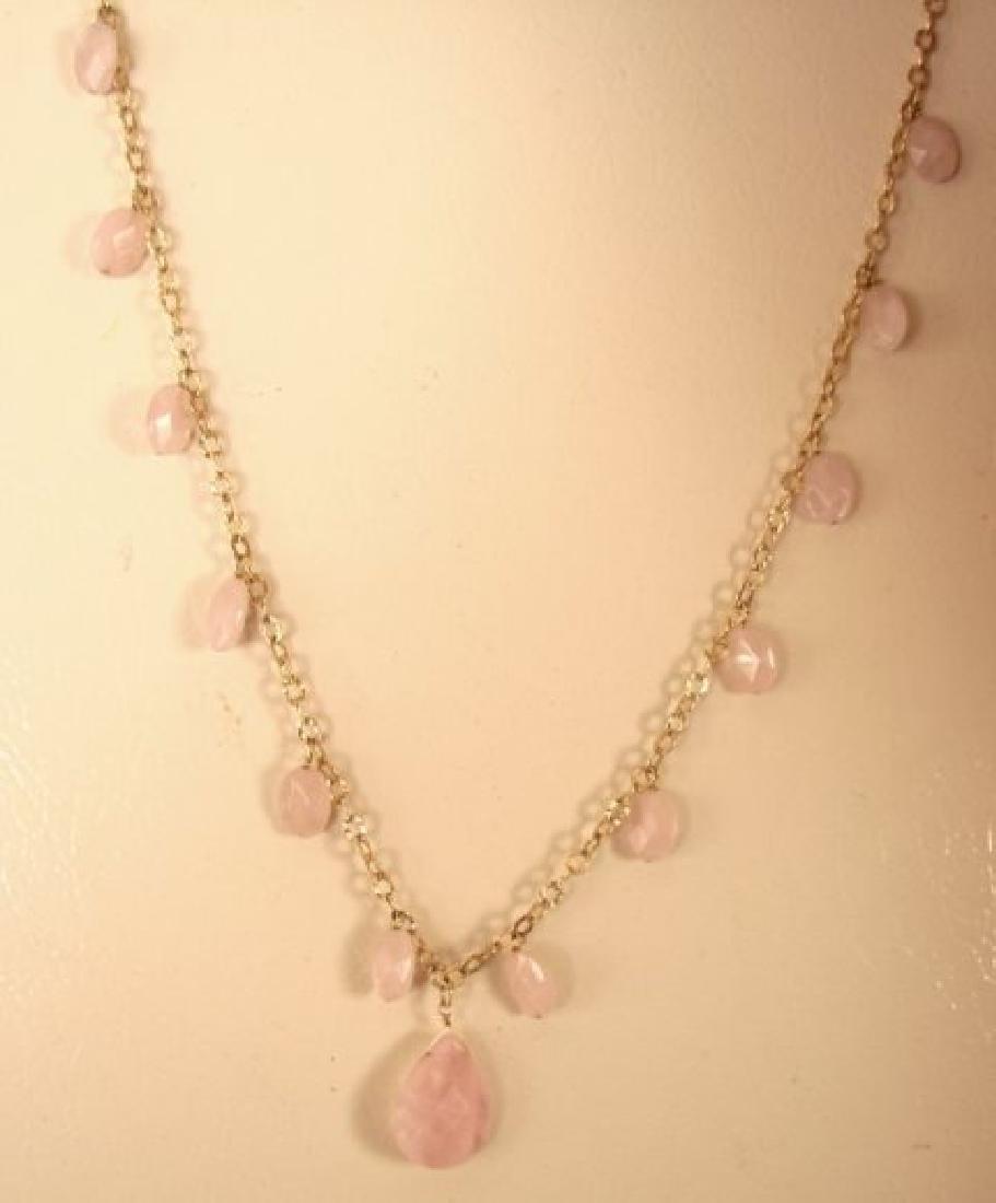 Elegant Rose Quartz Necklace 95.10Ct 14K G/Filled - 2
