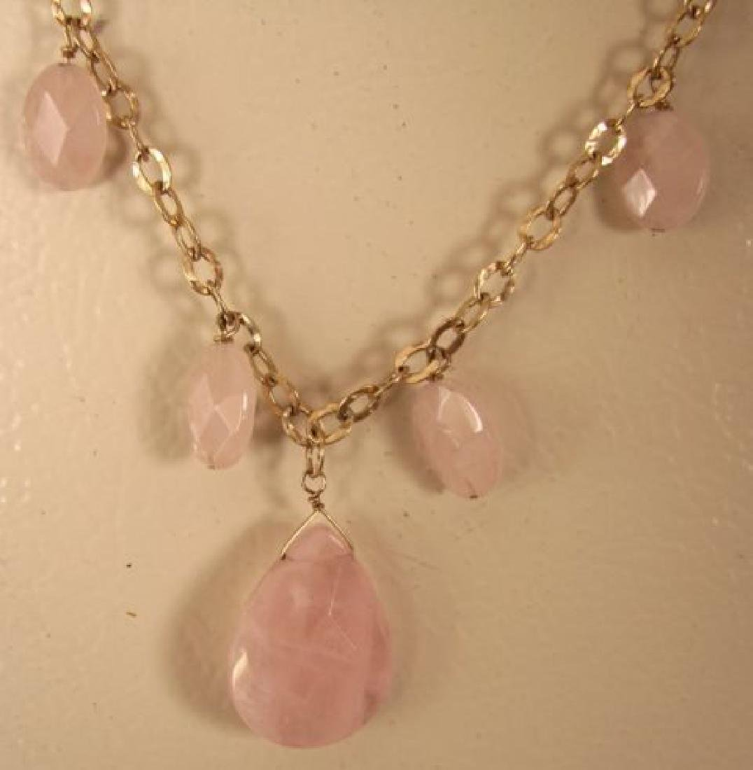 Elegant Rose Quartz Necklace 95.10Ct 14K G/Filled - 3