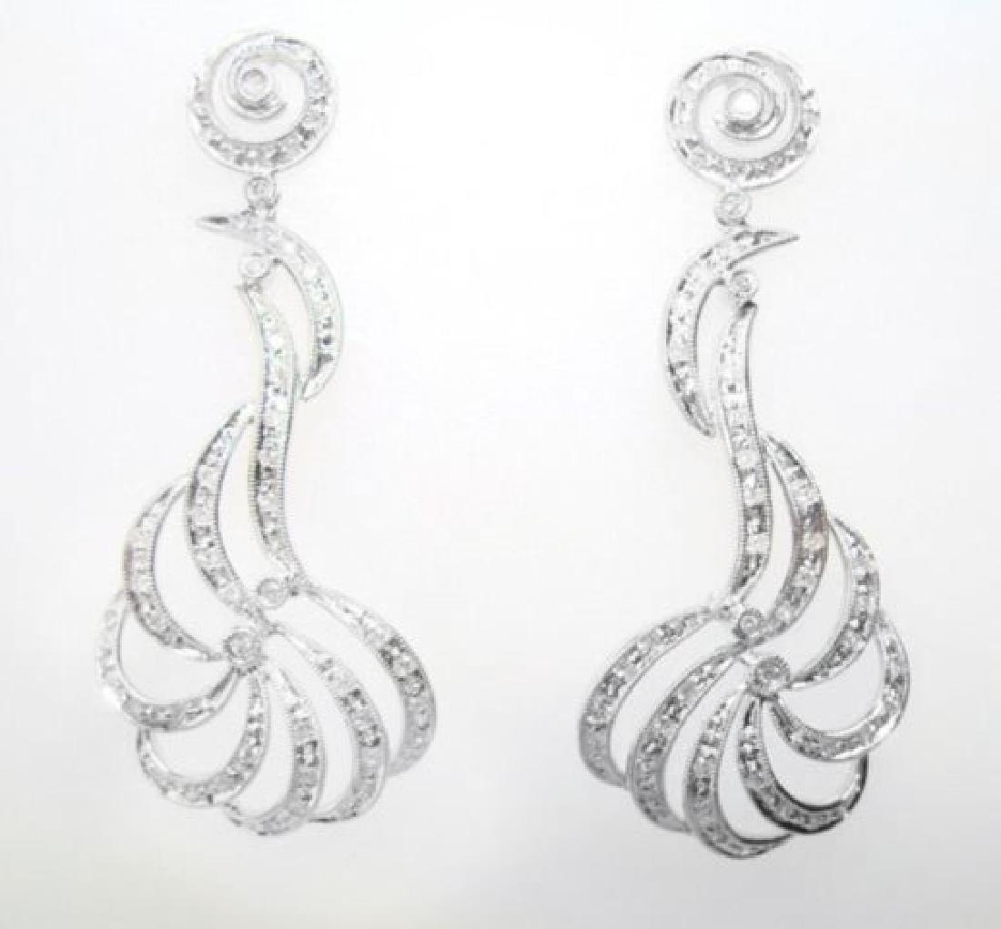 Chandeliers Diamond Earrings 1.03Ct 18k White Gold - 2