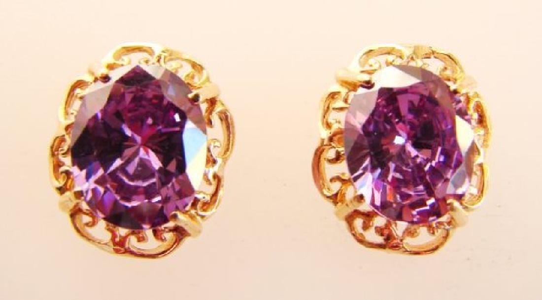 Amethyst Earrings 11.24Ct 18k Rose Gold