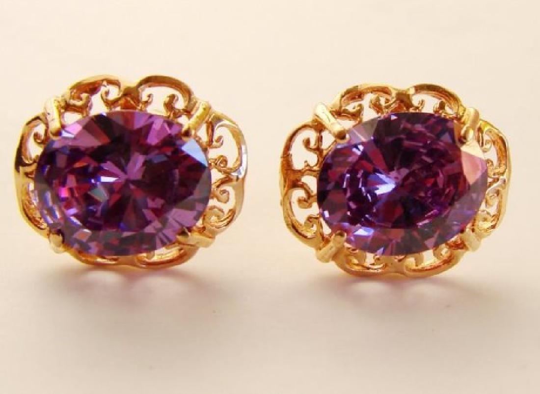 Amethyst Earrings 11.24Ct 18k Rose Gold - 2