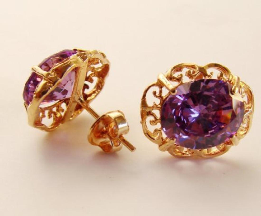 Amethyst Earrings 11.24Ct 18k Rose Gold - 3