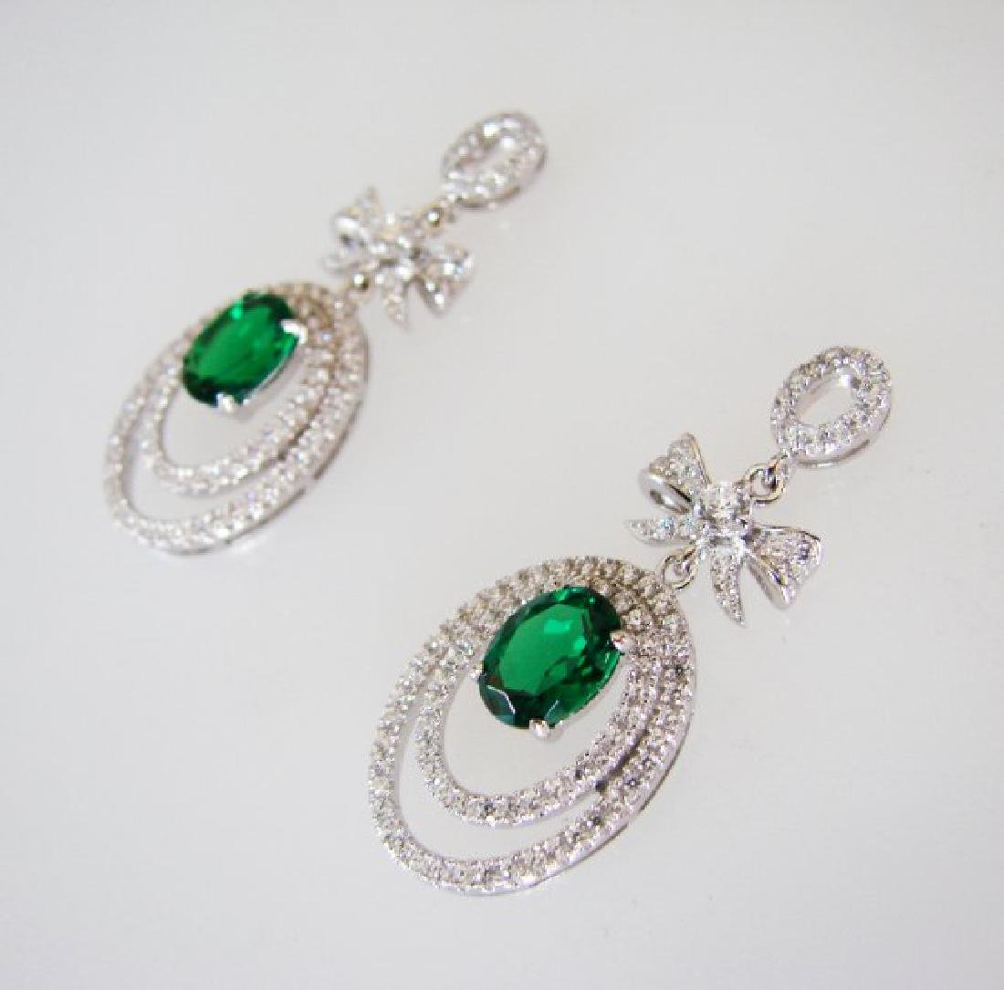 Creation Diamond/Green Garnet Earring 5.50Ct 18k W/g - 2
