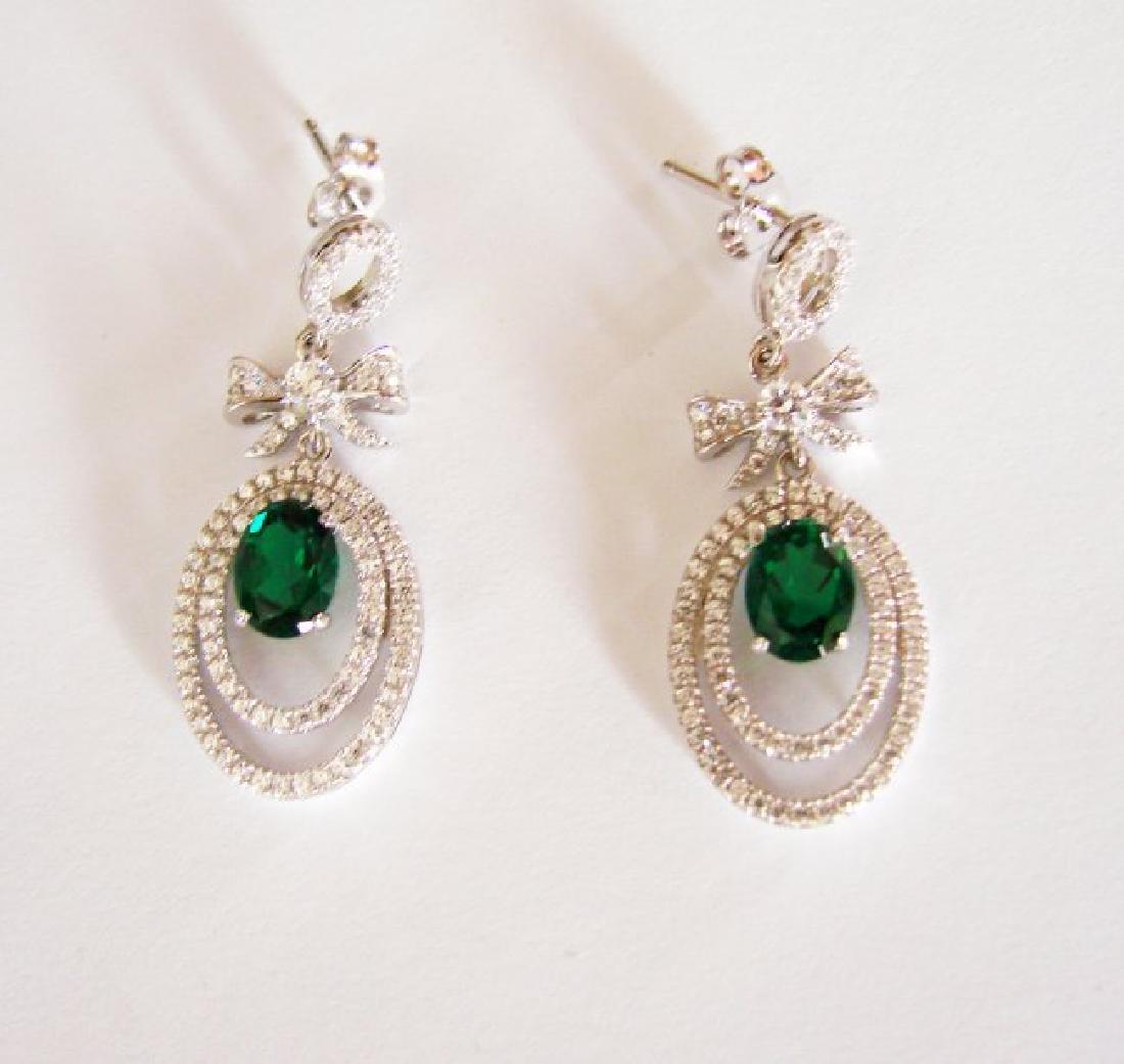 Creation Diamond/Green Garnet Earring 5.50Ct 18k W/g - 3