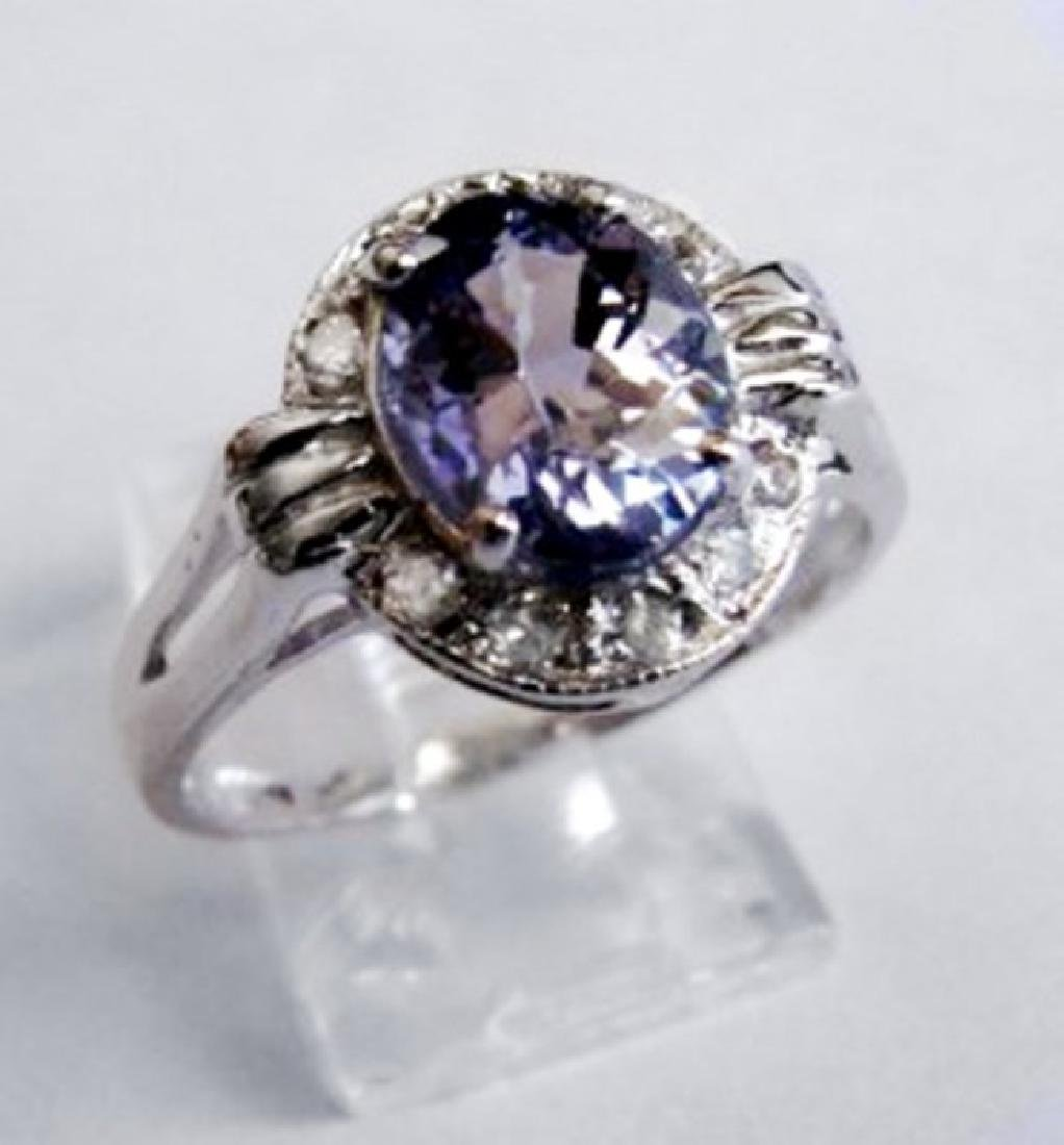 Natural Tanzanite & Diamond Ring 2.03Ct 14k W/g - 2