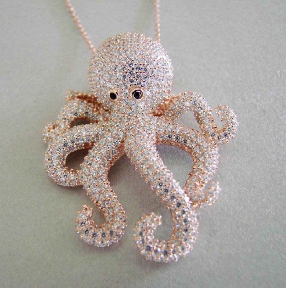 Creation Diamond Octopus Pendant 4.42Ct 18k R/g Overlay