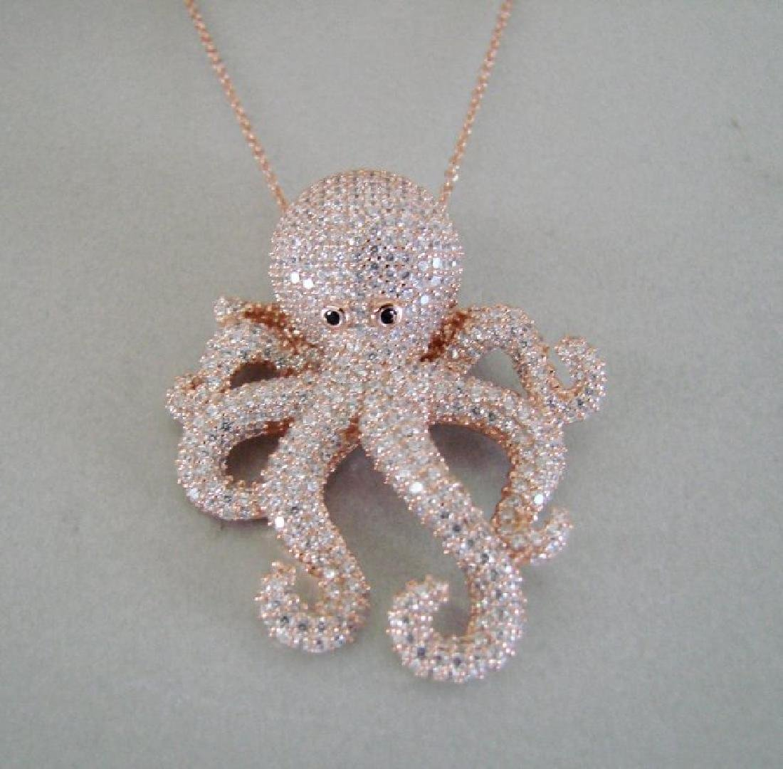 Creation Diamond Octopus Pendant 4.42Ct 18k R/g Overlay - 2
