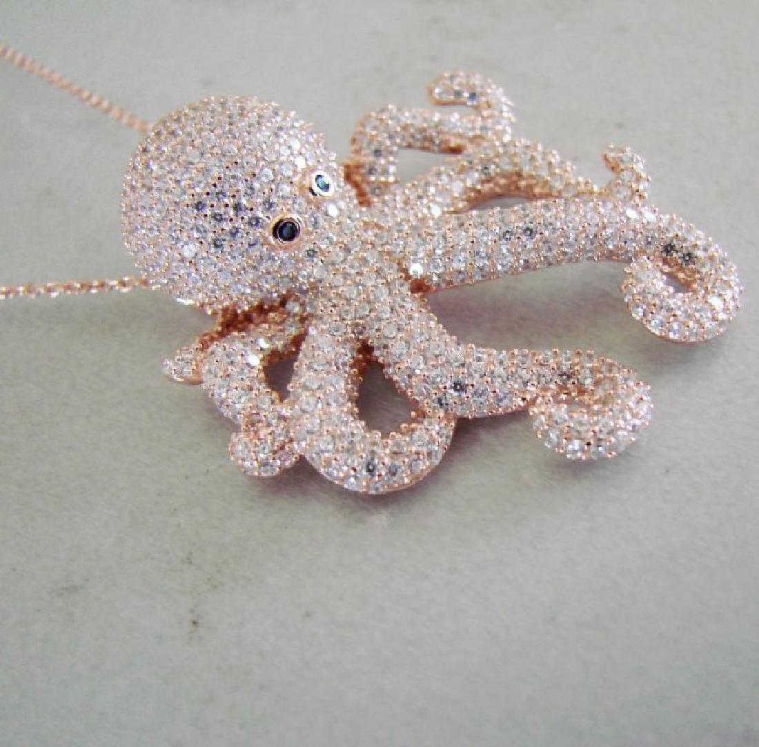 Creation Diamond Octopus Pendant 4.42Ct 18k R/g Overlay - 3