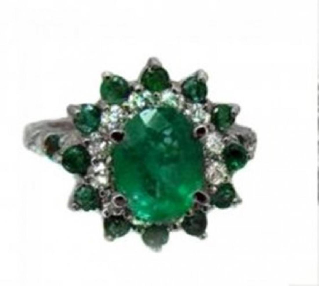 Anniversary Emerald Diamond Ring 4.31Ct 14k White Gold