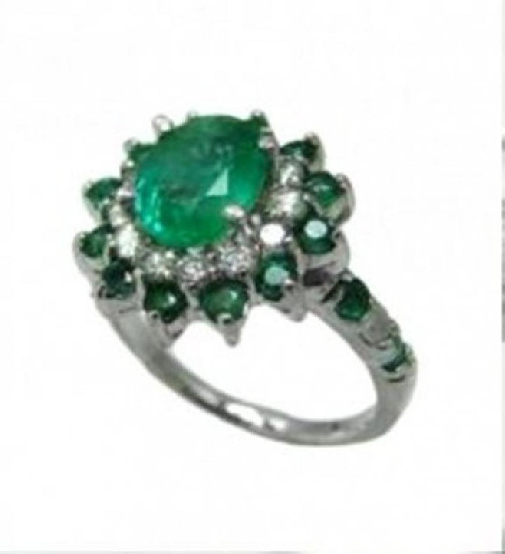 Anniversary Emerald Diamond Ring 4.31Ct 14k White Gold - 2