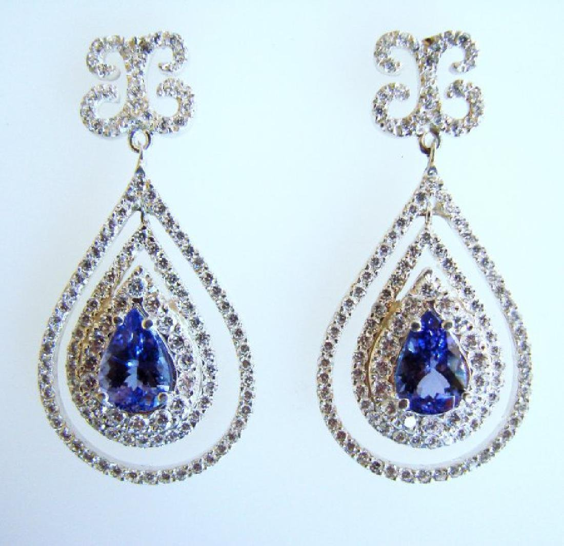 Earrings Natural Diamond & Tanzanite 11.12Ct 14k W/g