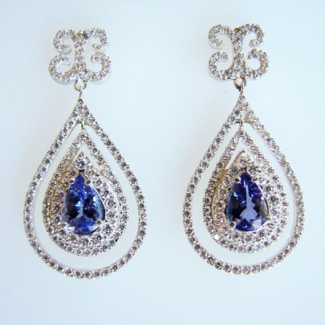 Earrings Natural Diamond & Tanzanite 11.12Ct 14k W/g - 2