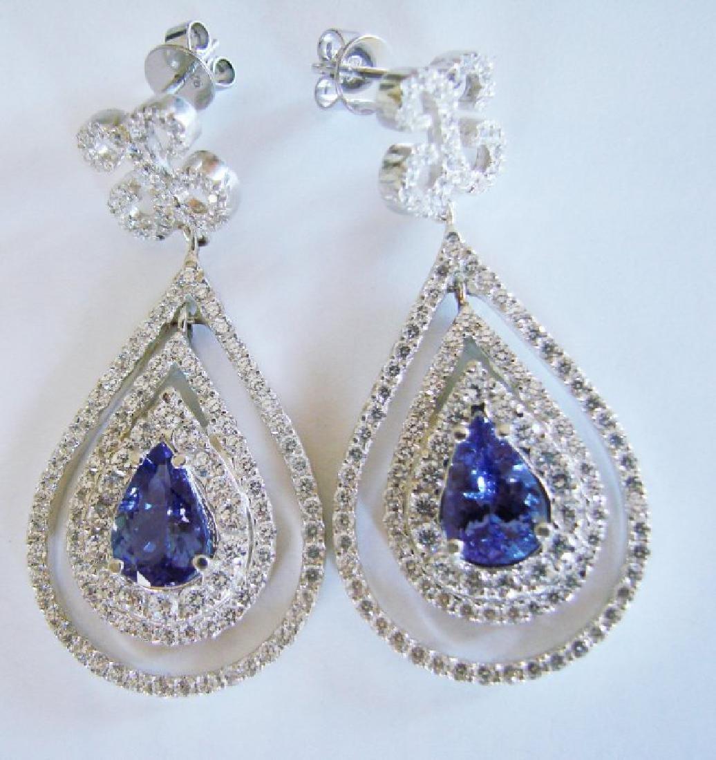 Earrings Natural Diamond & Tanzanite 11.12Ct 14k W/g - 3