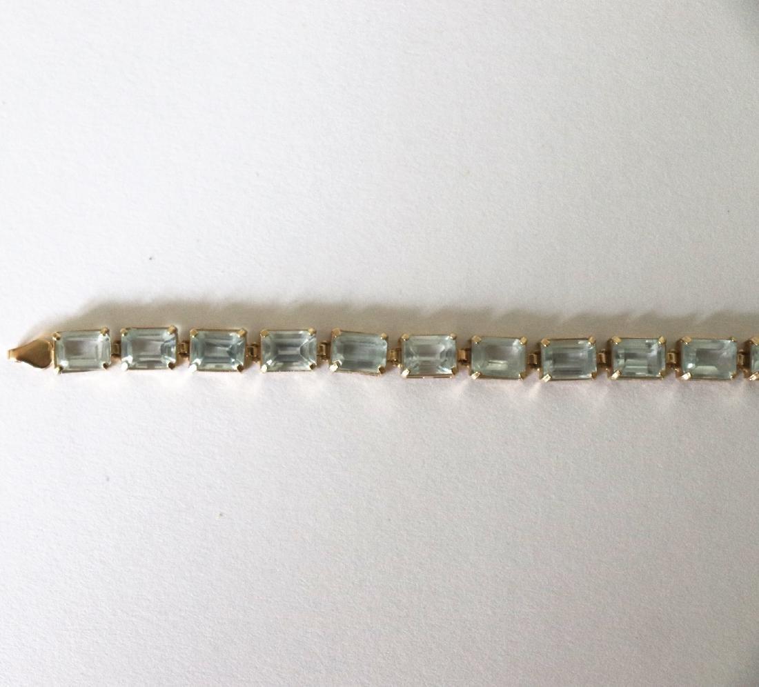 Aquamarine Bracelet 19.68 CT 14k Yellow Gold - 2