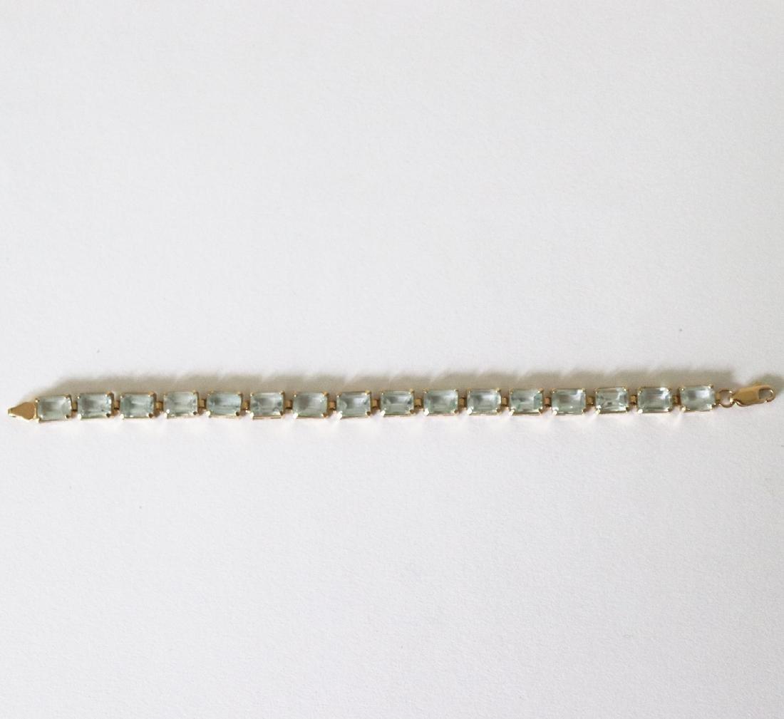 Aquamarine Bracelet 19.68 CT 14k Yellow Gold - 4