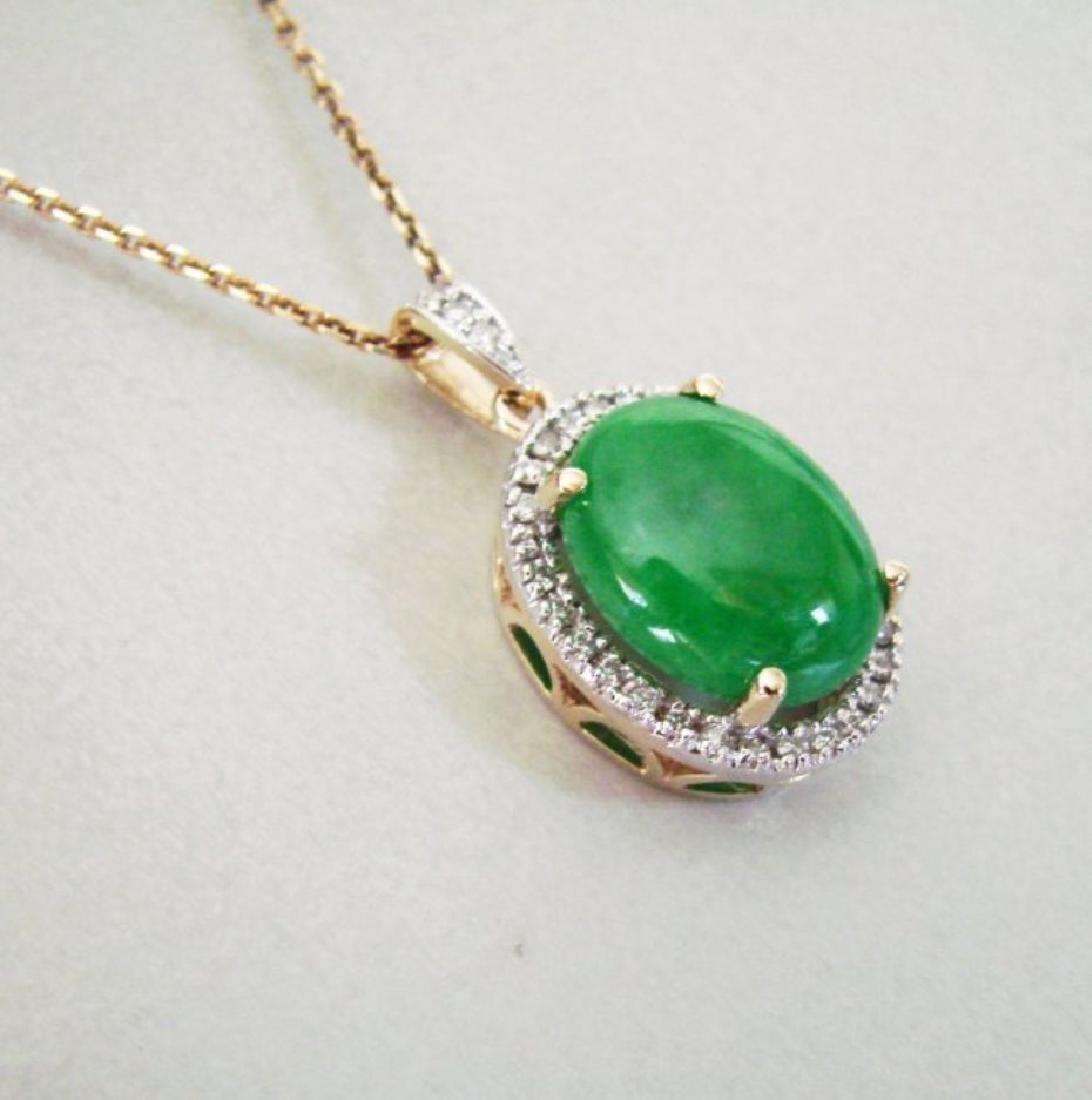 Diamond/Jadeite Jade Grade A  Pendant  8.38Ct 14k Y/g - 2