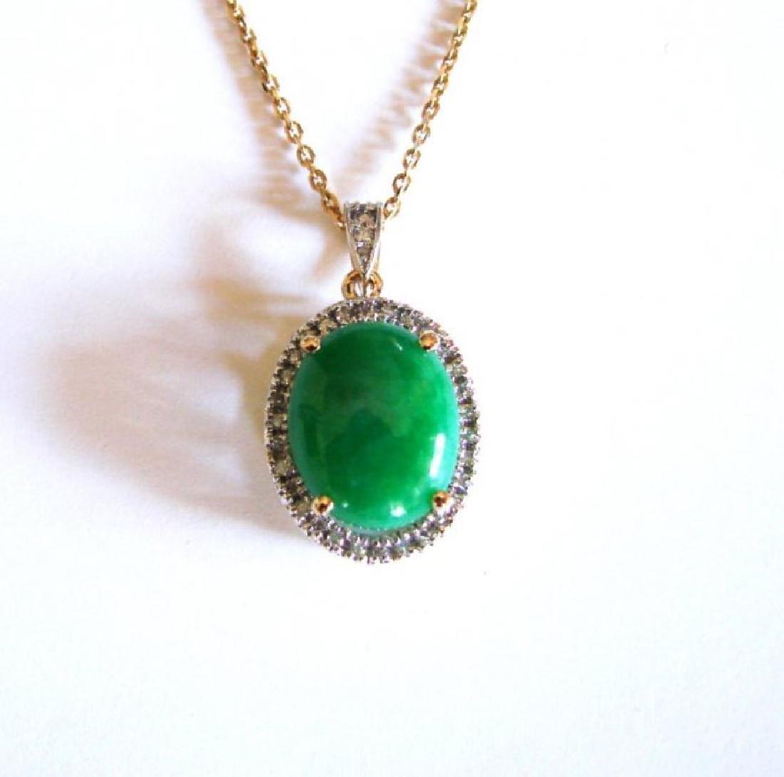 Diamond/Jadeite Jade Grade A  Pendant  8.38Ct 14k Y/g - 3