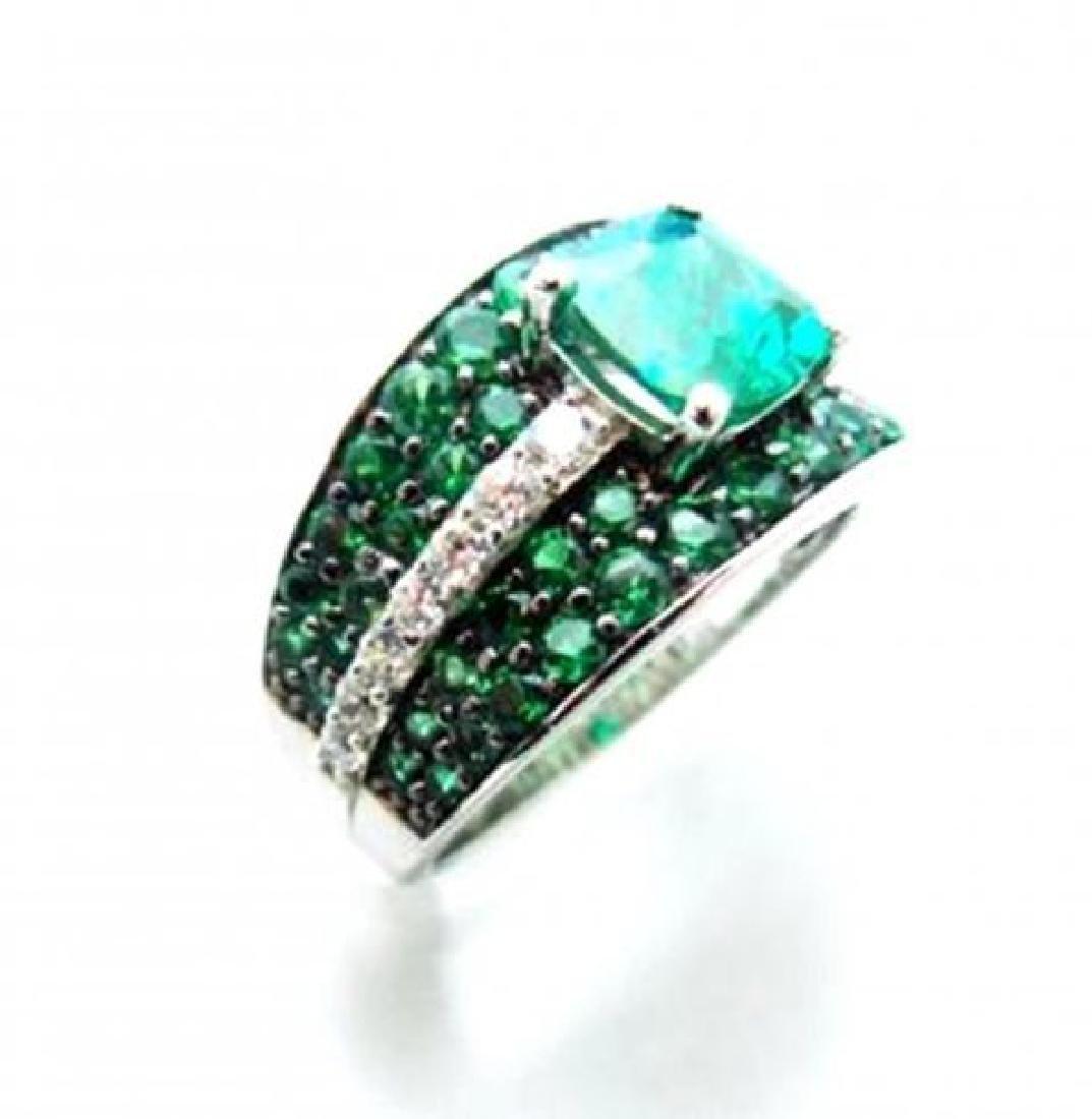 Creation Diamonds Emerald Ring 3.75Ct 18k W/g Over - 2