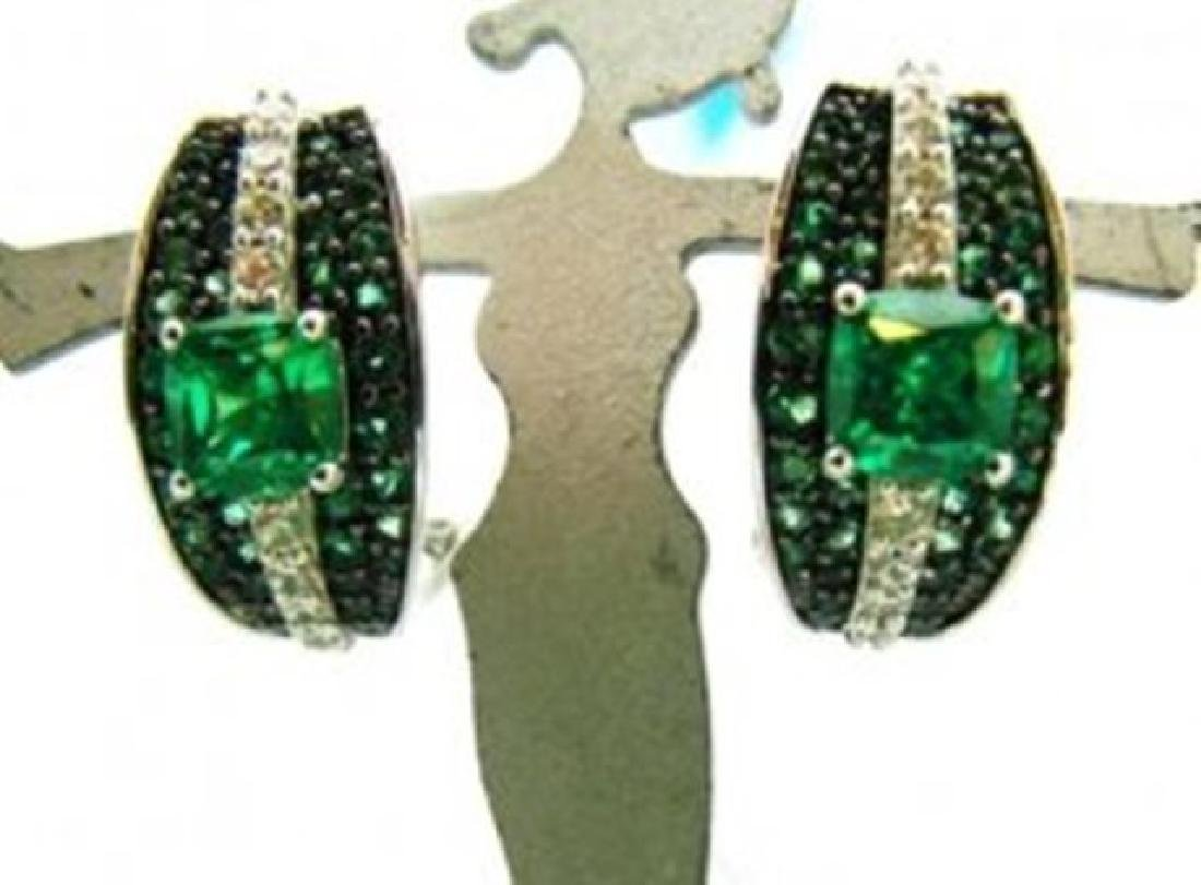 Creation Dia/Emerald  Earrings 7.50Ct 18k W/g Overlay
