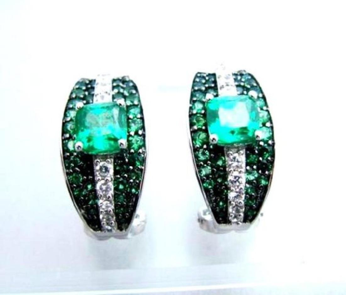 Creation Dia/Emerald  Earrings 7.50Ct 18k W/g Overlay - 2