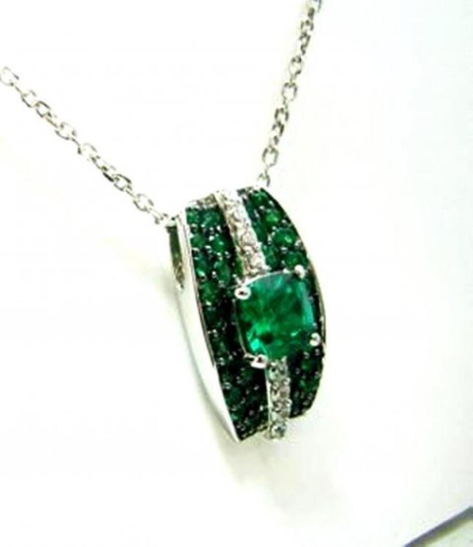 Creation Dia/Emerald Pendant 3.75Ct 18kW/g Overlay - 3