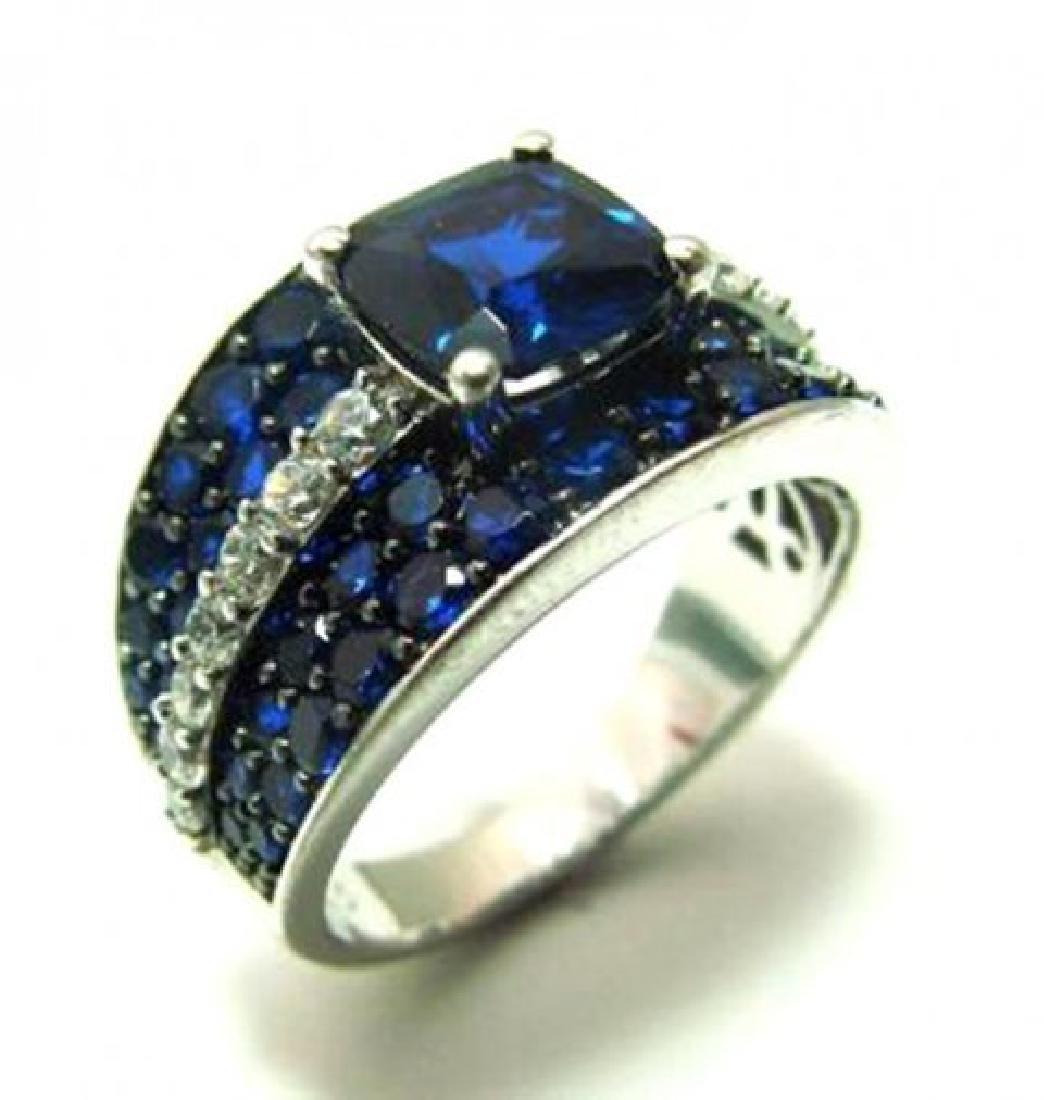 Creation Dia/Sapphire Ring 3.75Ct 18k W/g Overlay - 2
