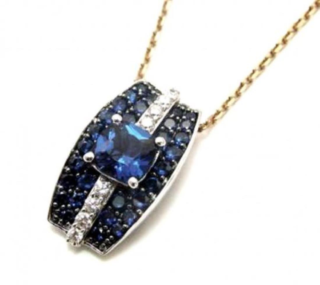 Creation Diamond Sapphire Pendent 3.75Ct 18k W/gOverlay