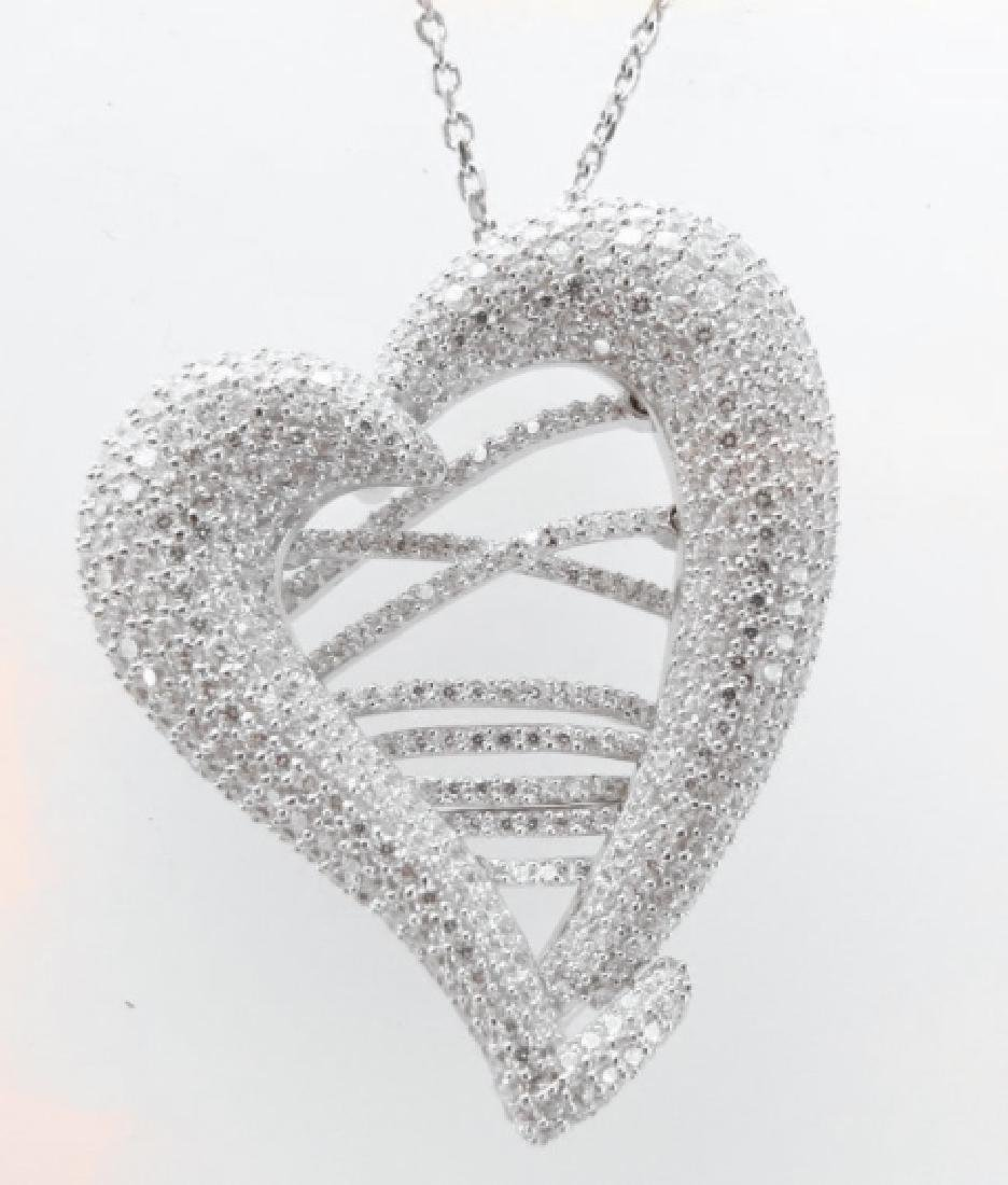 Creation Diamond Heart Pendant 4.80Ct 18k W/g Overlay