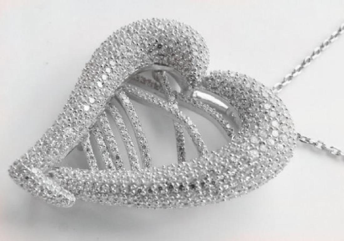 Creation Diamond Heart Pendant 4.80Ct 18k W/g Overlay - 2