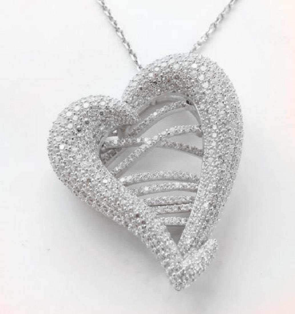 Creation Diamond Heart Pendant 4.80Ct 18k W/g Overlay - 3