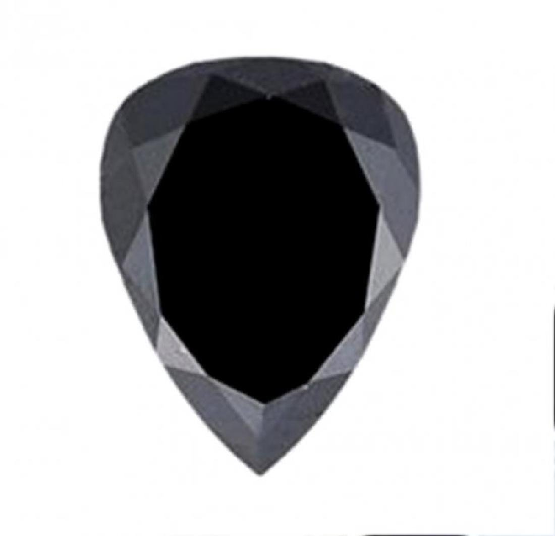 Black Diamond Pear Facet 3.57Ct 11.6x9x6 mm