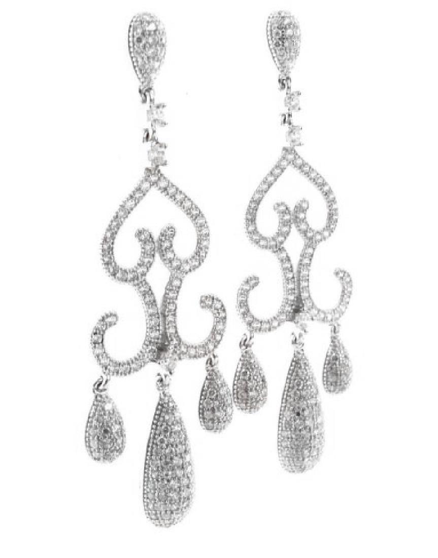 Creation  Diamond Earring 2.75Ct 18k W/G Overlay - 2