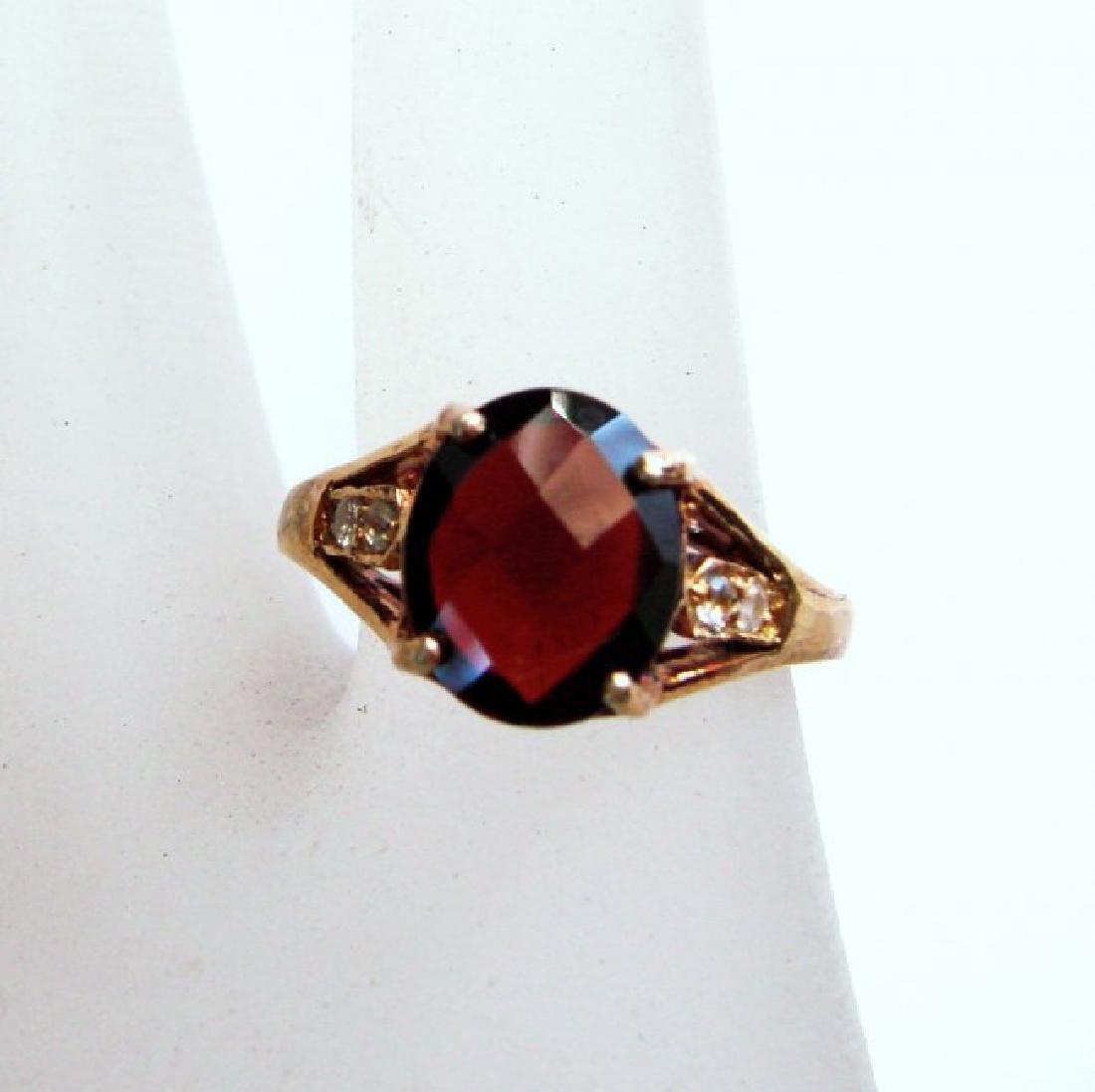 Anniversary Ring Natural Diamond Garnet 3.20Ct 14k Y/g
