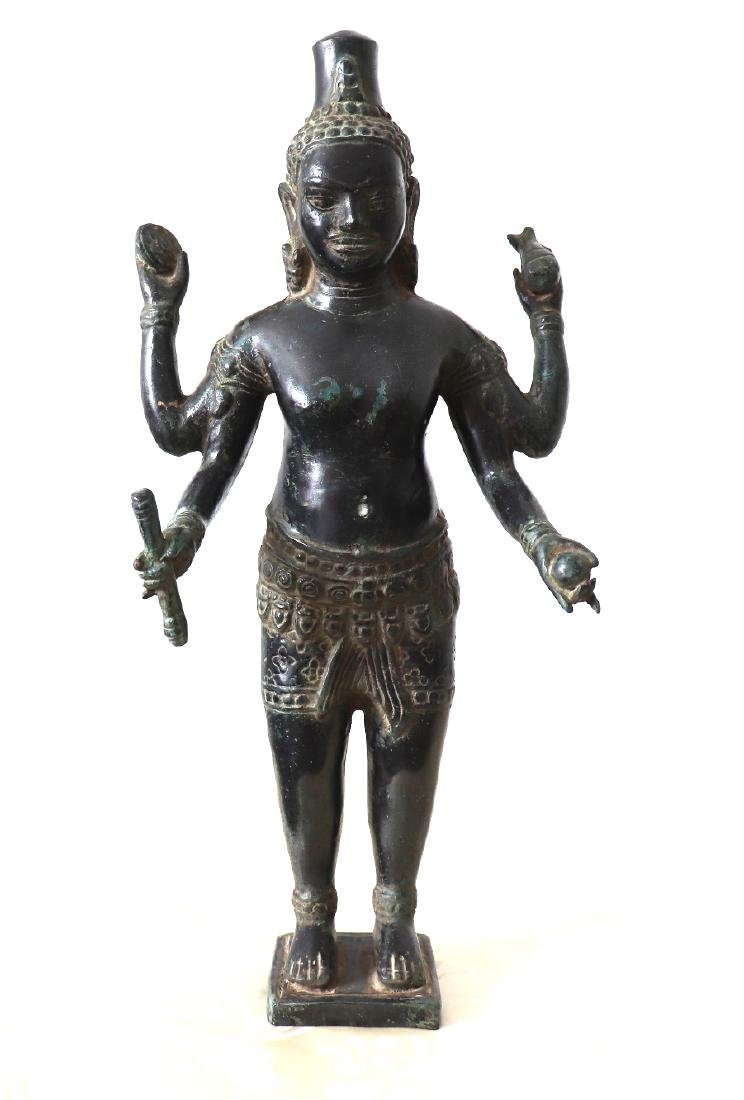 Khmer Angkor,Buddha Brass King Statue 12th Century