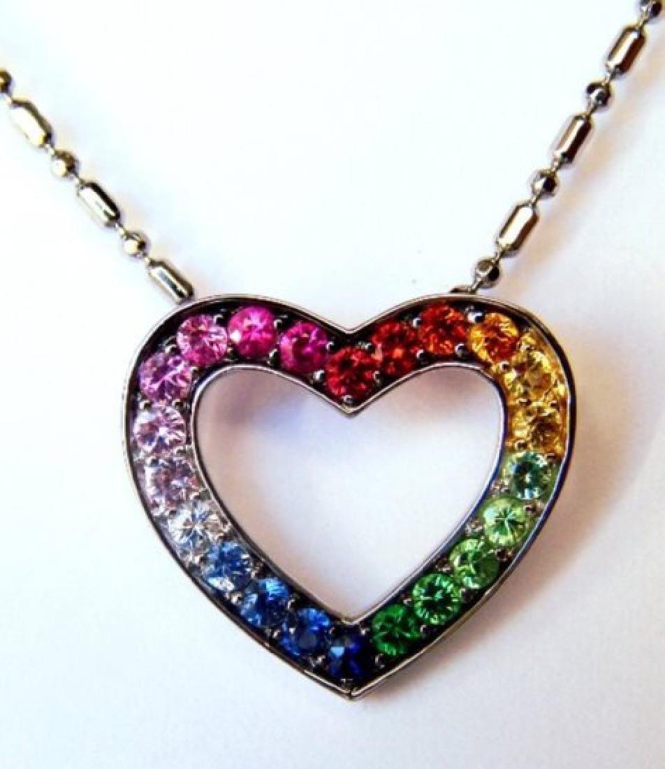 Heart Sapphire Multi Color Pendant .68Ct 14k W/g