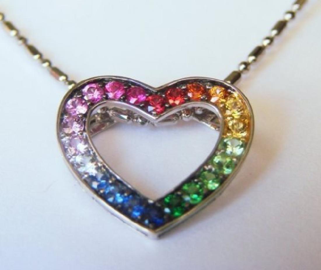 Heart Sapphire Multi Color Pendant .68Ct 14k W/g - 2