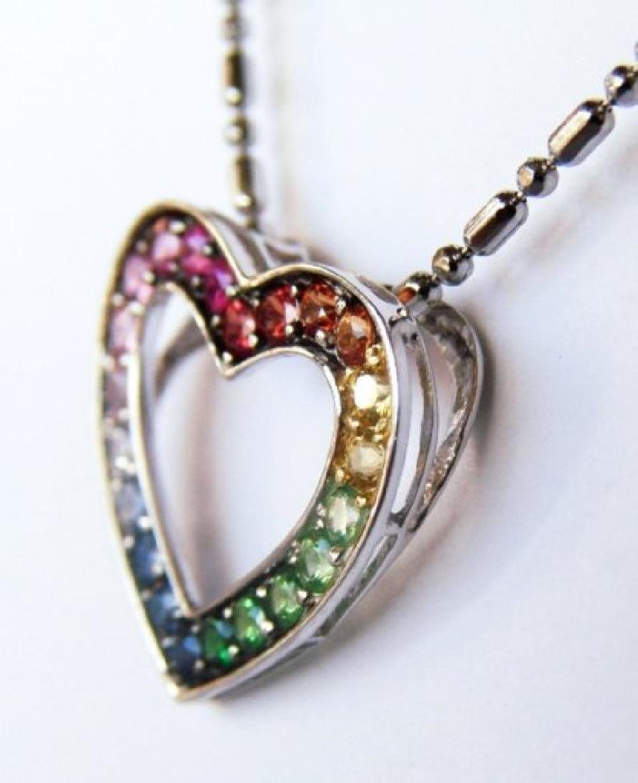 Heart Sapphire Multi Color Pendant .68Ct 14k W/g - 3