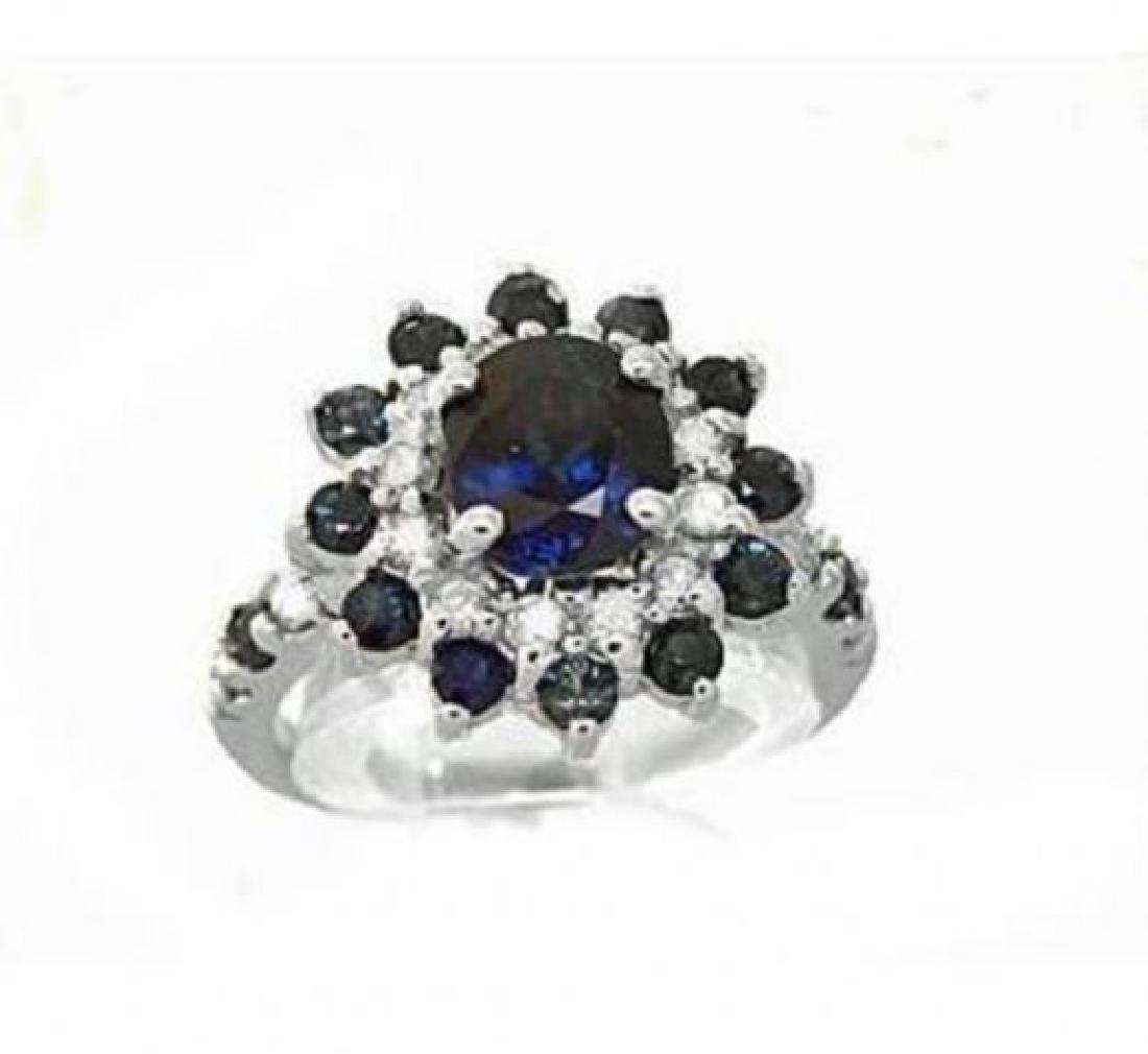 Blue Sapphire:4.39CT,  Diamond: .62CT Ring 14k W/G