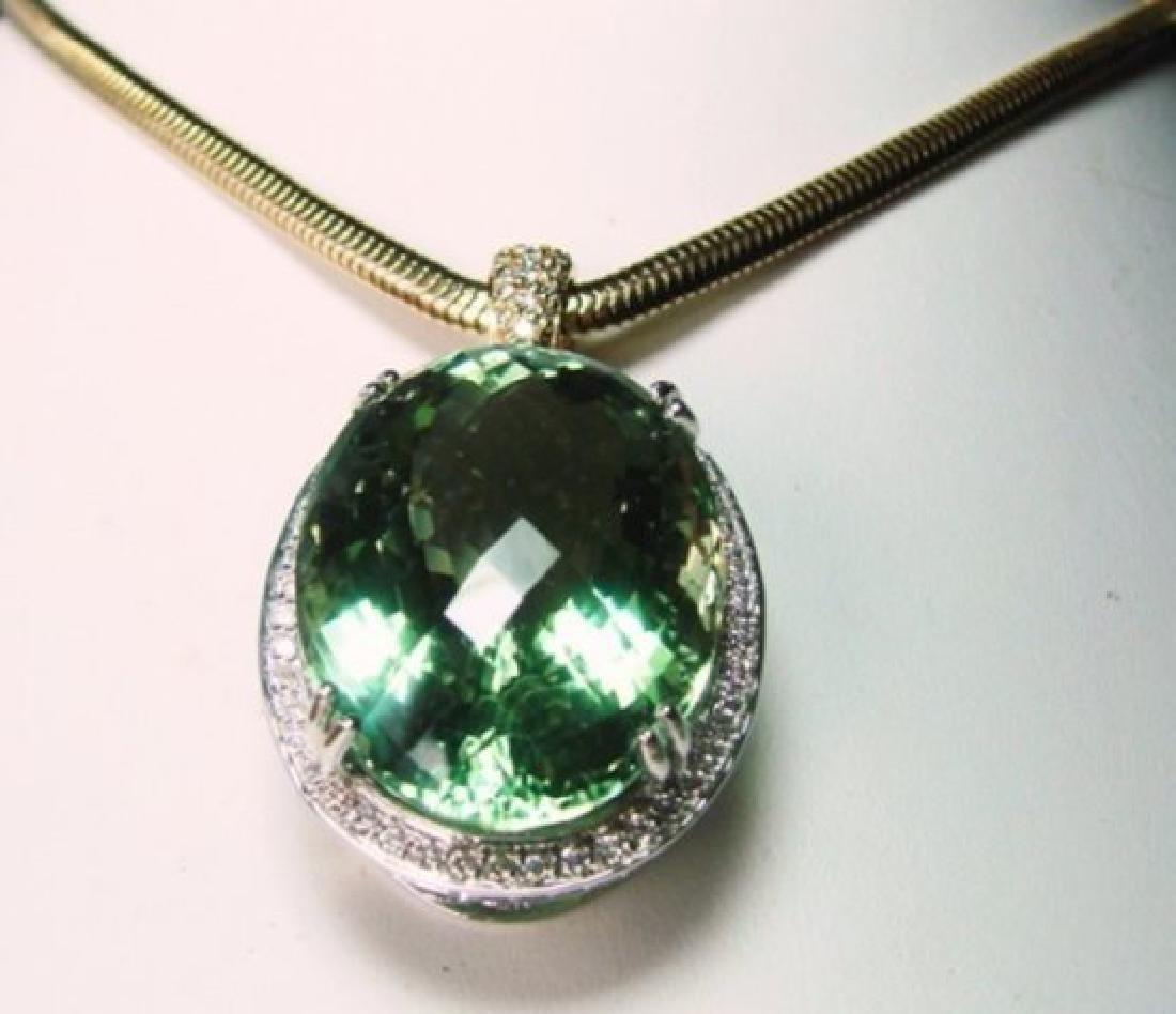 Green Amethyst & Diamond Pendant 46.64Ct 14k W-Y/g - 2